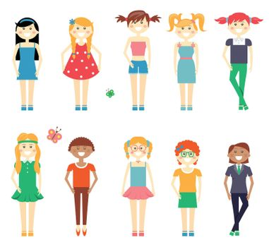 Smiling funny girls character set