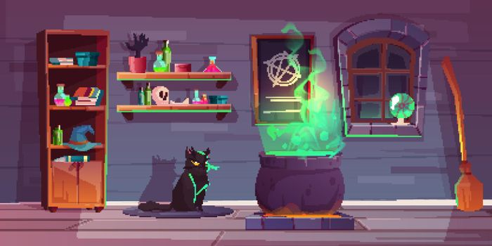 Vector game background of witch house, quest
