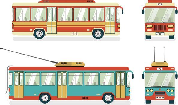 Public Transport  Bus Trolleybus 4 Icons