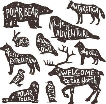 Polar Animals Silhouettes