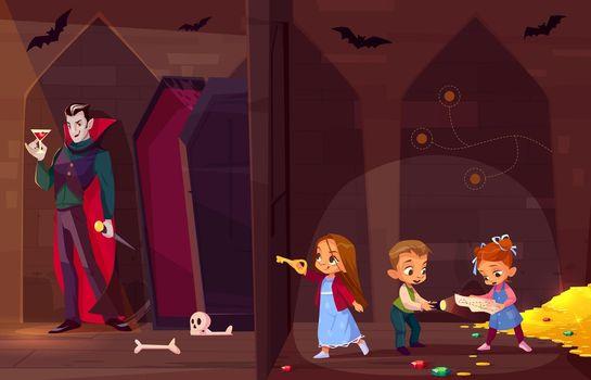 Children in quest escape room cartoon vector