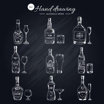 Alcoholic Beverages Monochrome Icons Set