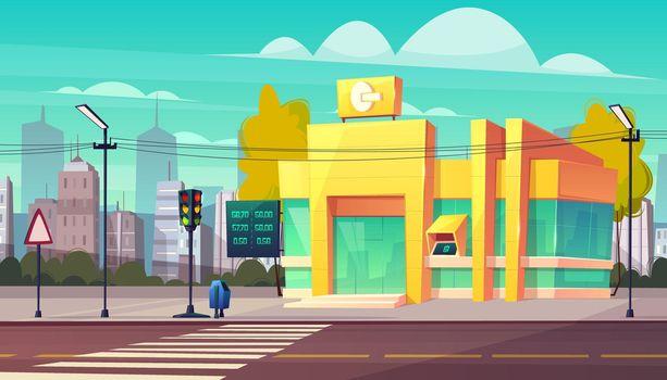 Bank branch building on city street cartoon vector