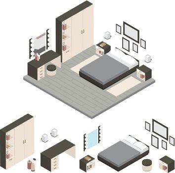 Isometric Create A Bedroom Icon Set