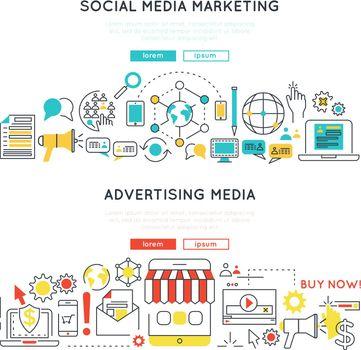 Digital Marketing Horizontal Linear Banners