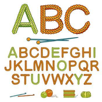 Warm Knitting Alphabet Icon Set