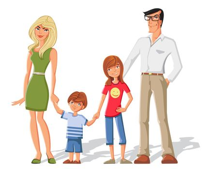 Parents With Children Characters Set