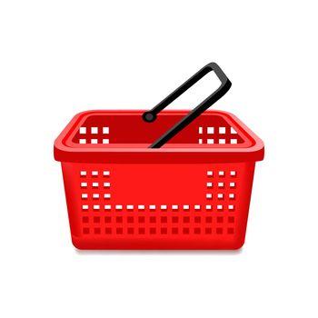Red Supermarket Basket Isolated