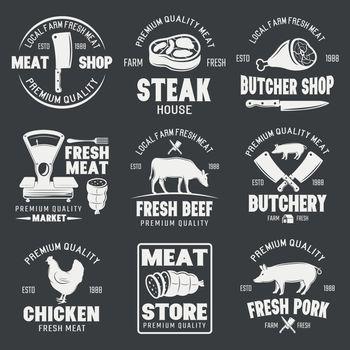 Butcher Shop Monochrome Emblems