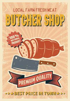 Butcher Shop Retro Style Poster