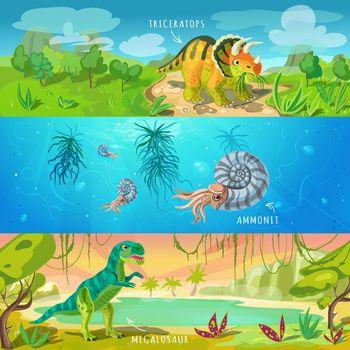 Animals Jurassic Banners Set