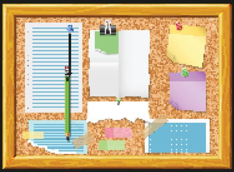 Cork Board And Note Papers Design