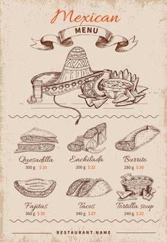 Mexican Hand Drawn Menu