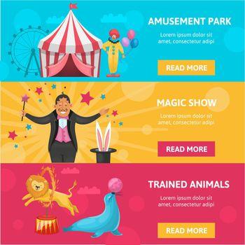 Circus Entertainment Banners Set