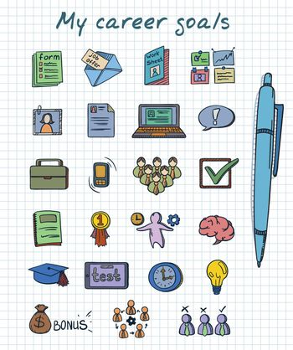 Sketch Colored Career Development Elements Set
