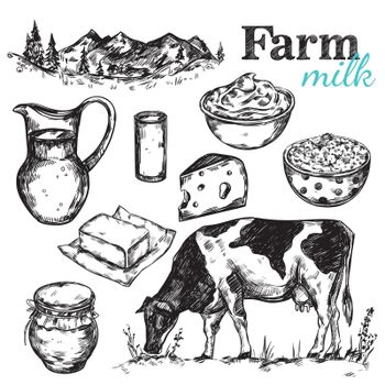 Cow And Nature Milk Sketch