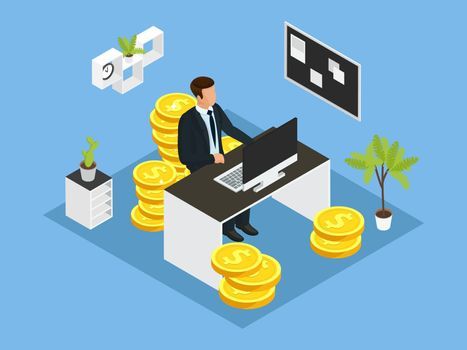 Isometric Business Financial Concept