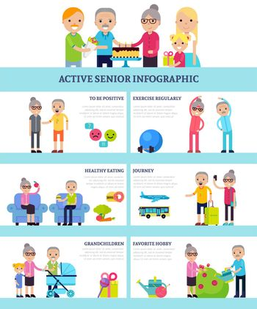 Active Senior People Flat Infographics