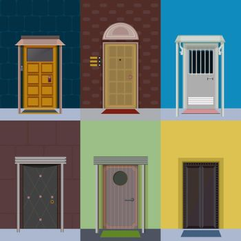Flat Colorful Elegant Entry Doors Set