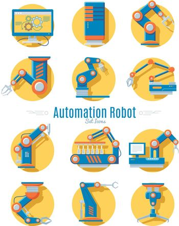 Industrial Robot Icons Collection
