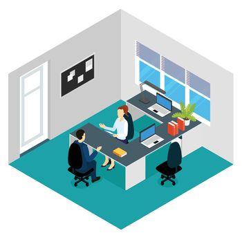 Job Interview Isometric Scene