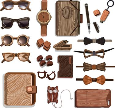 Wooden Fashionable Hipster Accessories Set