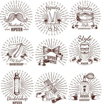 Barbershop Hipster Style Labels