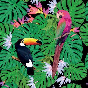 Exotic Birds Seamless Pattern