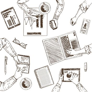 Business Teamwork Sketch Concept