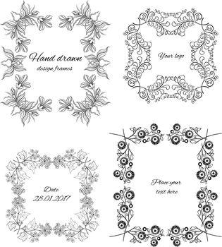 Sketch Ornamental Floral Design Frames Set