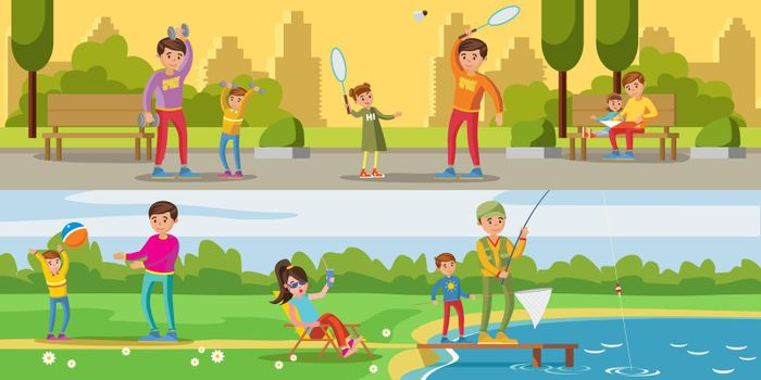 Summer Leisure Activity Horizontal Banners