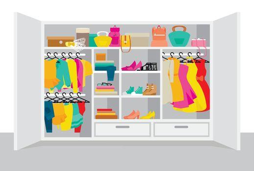 Colorful Woman Wardrobe Elements Concept