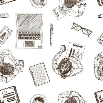 Hand Drawn Business Seamless Pattern