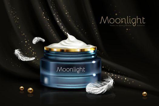 Night cream for sensitive skin realistic vector