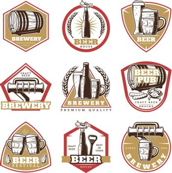 Colorful Vintage Beer Emblems Set