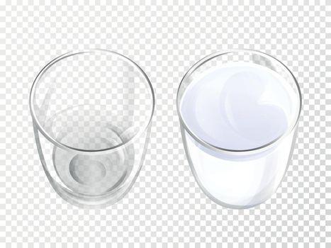 Milk glass vector illustration realistic crockery