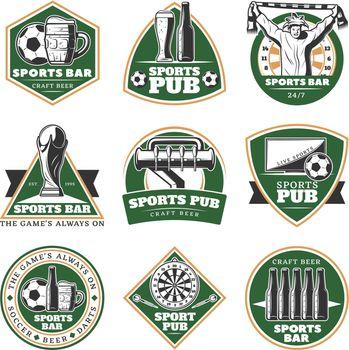 Colorful Vintage Sport Pub Emblems Set