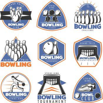 Colorful Vintage Sport Recreation Emblems Set