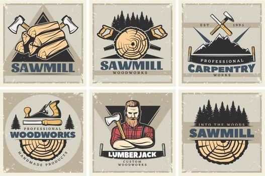 Sawmill Small Posters Set