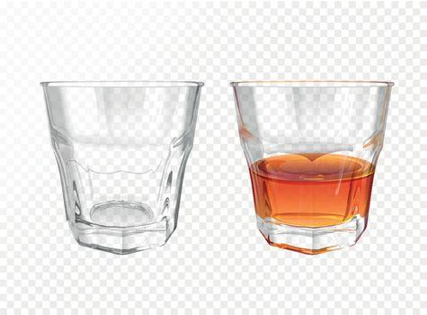 Whiskey glass vector illustration realistic crockery