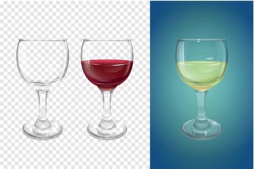 Wine glass vector illustration realistic crockery