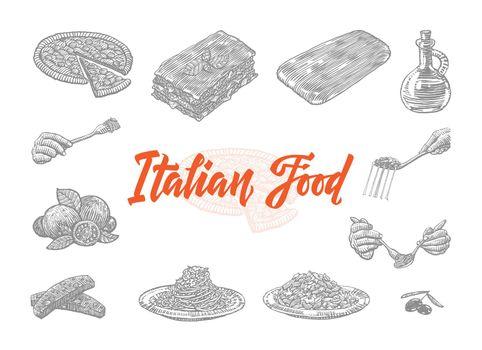 Hand Drawn Italian Food Icons Set