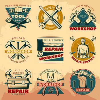 Vintage Repair Workshop Color Logo Set