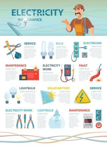 Professional Electrician Infographic Template