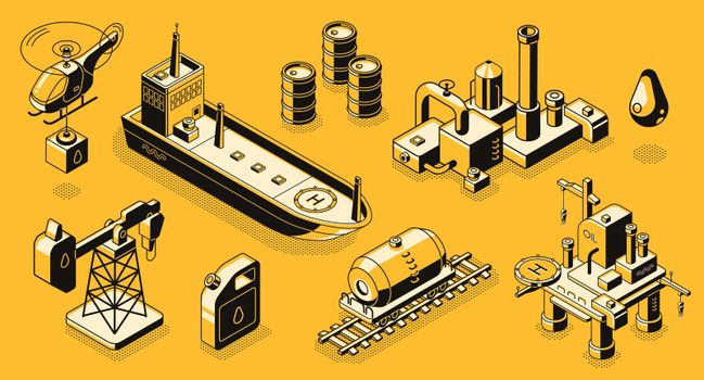Oil industry objects isometric vector icons set