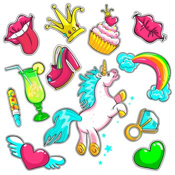 Comic Colorful Patches Set