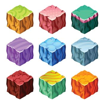 Gaming Cubes Landscape Elements Isometric Set