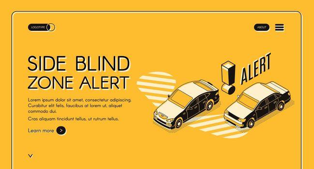 Car blind spot monitoring assist vector website
