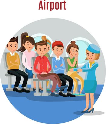 Colorful People On Airplane Template