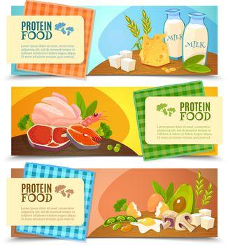 Protein Food Flat Horizontal Banners Set